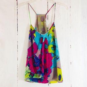 TRINA TURK | Silk Racerback Floral Camisole S